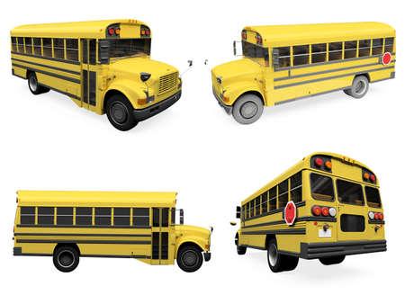 Colecci�n aislado de autob�s amarillo