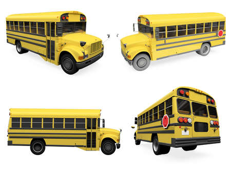 schooltime: Isolated collection of yellow bus Stock Photo