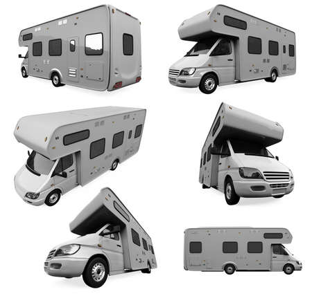 motor home: Isolated collection of travel truck