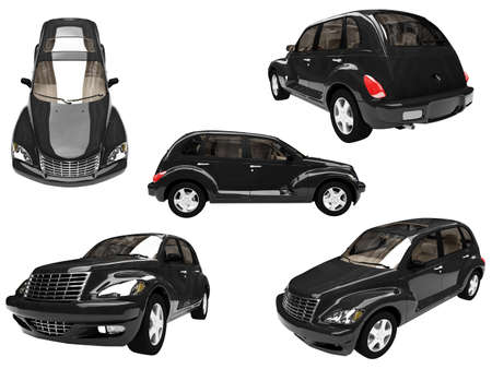 Isolated collection of black car Imagens