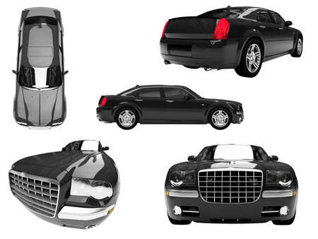 daimler: Isolated collection of black car Stock Photo