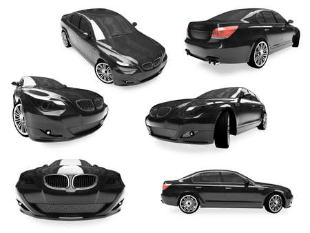 Isolated collection of black car photo
