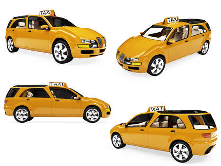 Isolated collection of concept yellow taxi photo