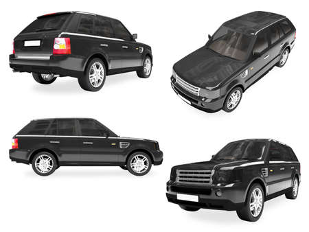 Isolated collection of black car Stock Photo