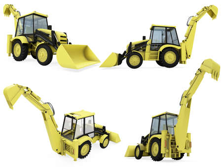 earthmoving: Isolated collection of construction vehicle Stock Photo