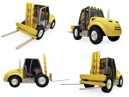 earthmover: Isolated collection of fork truck
