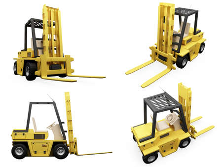 Isolated collection of fork truck