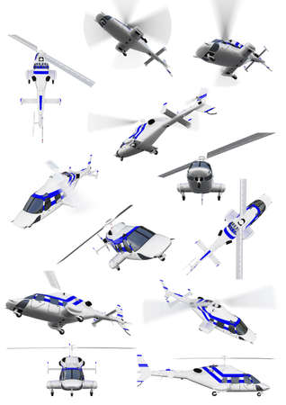 tail fan: Isolated collection of helicopter Stock Photo