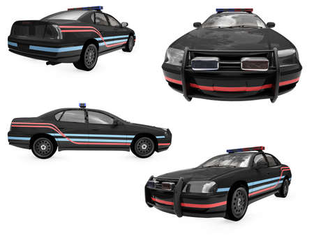 Isolated collection of black police car Stock Photo - 6077622
