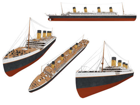 ocean liner: Isolated collection of ship Stock Photo