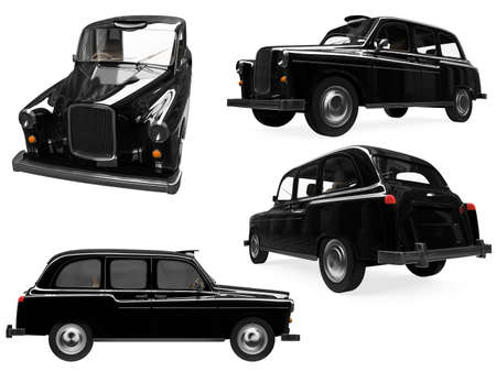 taxi cab: Isolated collection of black taxi