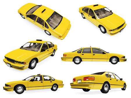 Isolated collection of yellow taxi