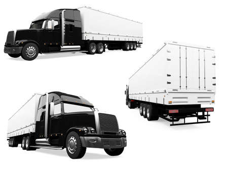 semi truck: Isolated collection of truck Stock Photo