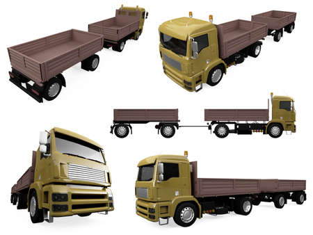 dumptruck: Isolated collection of truck Stock Photo