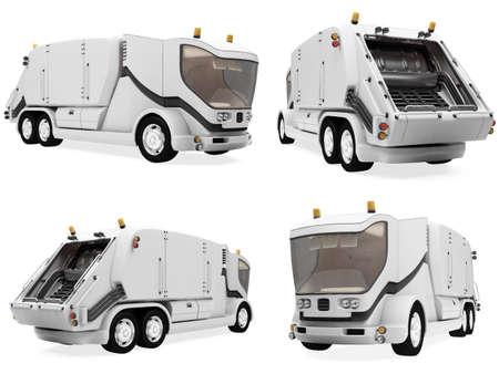 camion de basura: Colecci�n aislado de cami�n de basura de concepto