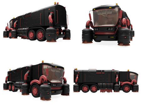dumptruck: Isolated collection of concept wash truck