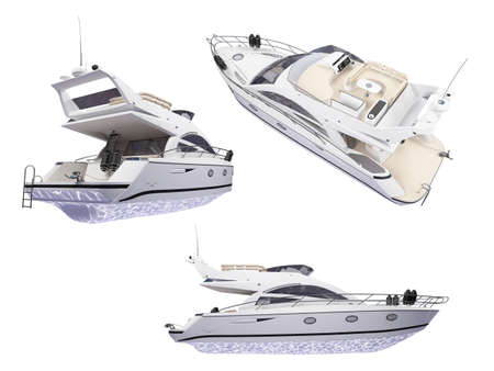 Isolated collection of yacht