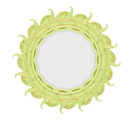 Isolated decorative golden frame over white background photo