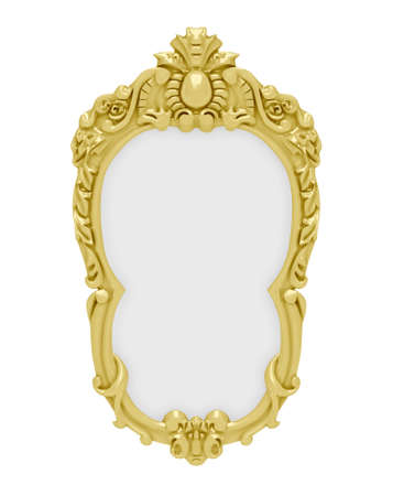 baroque picture frame: Isolated decorative golden frame over white