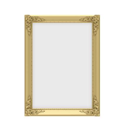 Isolated decorative golden frame over white