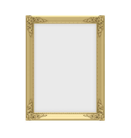 Isolated decorative golden frame over white