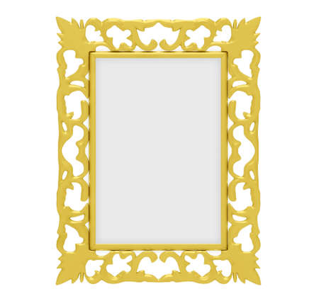 Isolated decorative golden frame over white photo