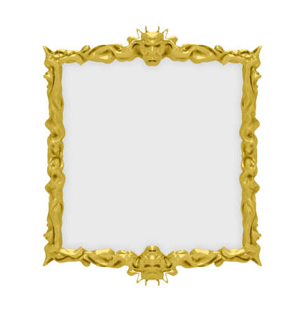 baroque picture frame: Isolated decorative golden frame over white background Stock Photo