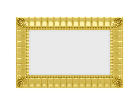 Isolated golden frame over white background Stock Photo - 6592910