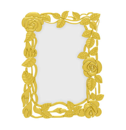 Isolated golden frame over white background photo