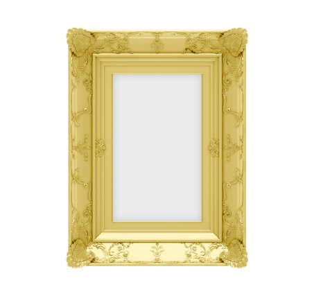 Isolated golden frame over white background photo