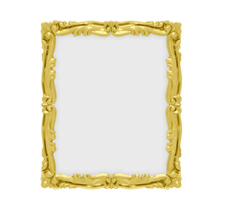 Isolated golden frame over white background