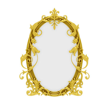 baroque picture frame: Isolated golden frame over white background