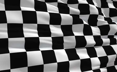 Aleteo bandera a cuadros en el viento  Foto de archivo