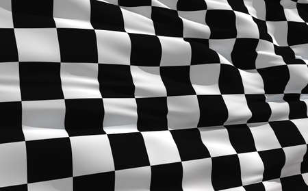 Fluttering checkered flag on the wind