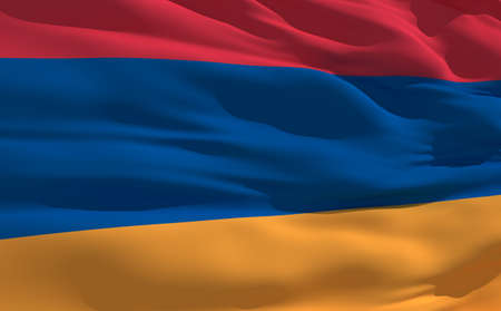 fluttering: Fluttering flag of Armenia on the wind Stock Photo