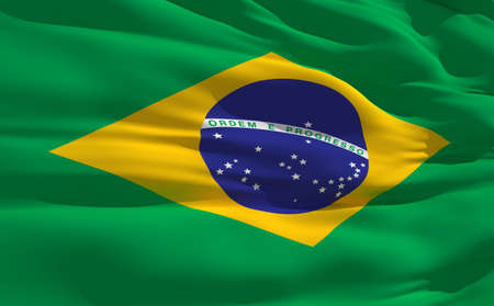 fluttering: Fluttering flag of Brazil on the wind