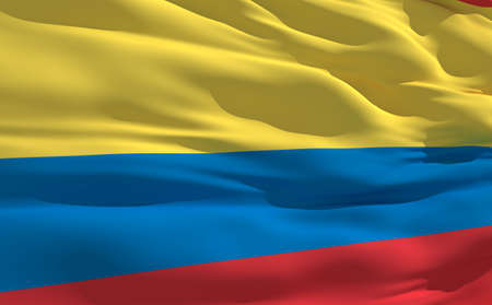 fluttering: Fluttering flag of Colombia on the wind Stock Photo