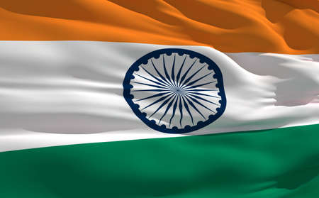 fluttering: Fluttering flag of India on the wind