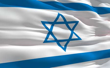 Fluttering flag of Israel on the wind photo
