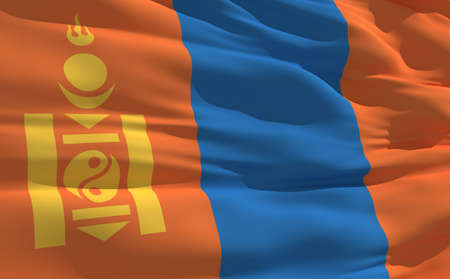 fluttering: Fluttering flag of Mongolia on the wind
