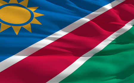 fluttering: Fluttering flag of Namibia on the wind
