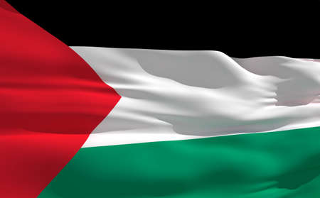 fluttering: Fluttering flag of Palestine on the wind