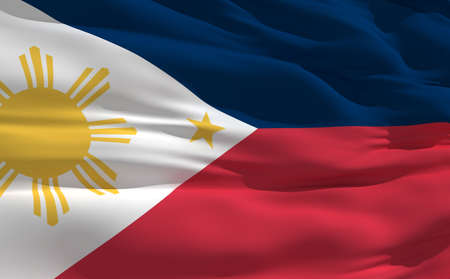 fluttering: Fluttering flag of Philippines on the wind Stock Photo
