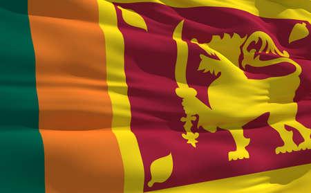 Fluttering flag of Sri Lanka on the wind