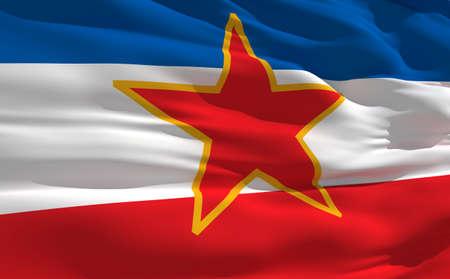 fluttering: Fluttering flag of Yugoslavie on the wind