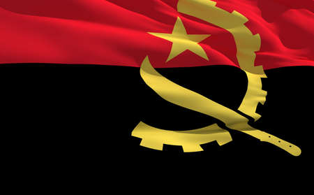 fluttering: Fluttering flag of Angola on the wind Stock Photo