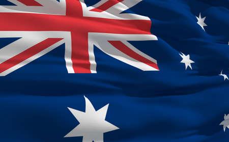 fluttering: Fluttering flag of Australia on the wind