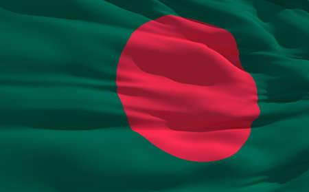 national symbol: Fluttering flag of Bangladesh on the wind