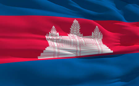 fluttering: Fluttering flag of Cambodia on the wind Stock Photo