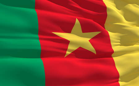 fluttering: Fluttering flag of Cameroon on the wind Stock Photo